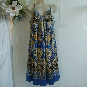 ECI  Blue/Gold Silk Paisley Dress